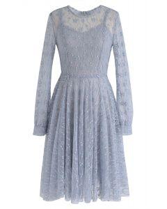 在塵土飛揚的藍色夢想蕾絲連衣裙