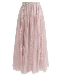 粉紅色的點綴愛耀斑薄紗中長裙
