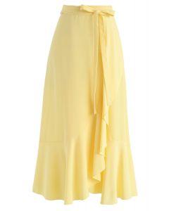 簡約底部不對稱荷葉邊中長裙黃色