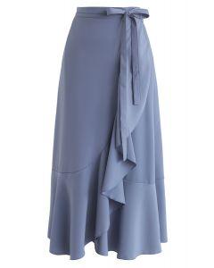 藍色簡約底部不對稱荷葉邊中長半身裙
