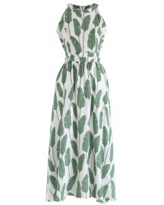 棕櫚葉露肩領長連衣裙--綠色