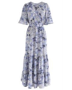 植物圖案裹身雪紡長連衣裙--藍色