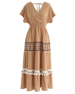 我唯一希望在橙色的波西米亞風裹身式連衣裙