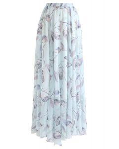 葉子印花雪紡半身長裙--薄荷綠
