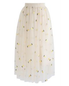 可愛超載菠蘿刺繡網眼裙