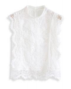 蕾絲無袖上衣--白色