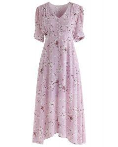 粉紅色的驚艷格蕾絲小花雪紡連衣裙