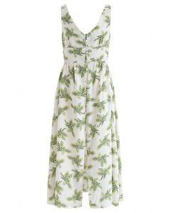棕色寬鬆鏤空背卡米連衣裙白色