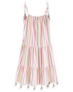 彩虹條紋長連衣裙--童裝
