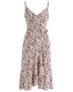 棕色微風裹身荷葉邊Cami連衣裙棕色