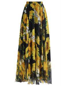 向日葵半身長裙--黑色