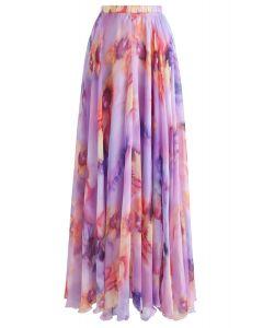 丁香花半身長裙--紫丁香色