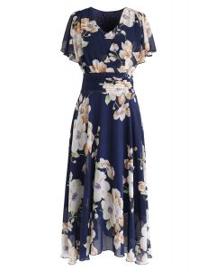 在海軍的甜投降花卉雪紡連衣裙