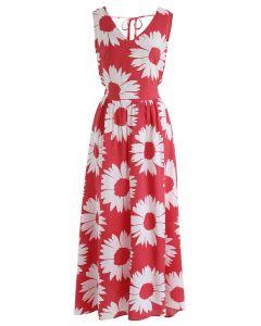 向日葵發光開背紅色長連衣裙
