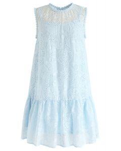 Windy Day刺繡無袖連衣裙藍色