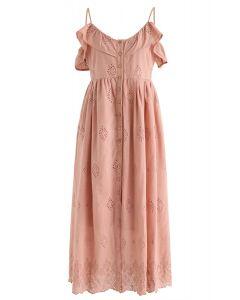 珊瑚可愛的日子刺繡Cami連衣裙