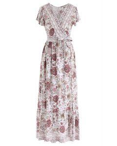 波西米亞風充滿活力的花卉裹身長連衣裙