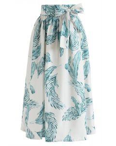 腰部綁帶樹葉半身裙--綠色