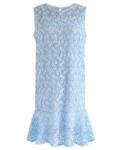 全新愛鉤針無袖連衣裙藍色