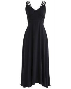 黑色完美星期日交叉背卡米連衣裙