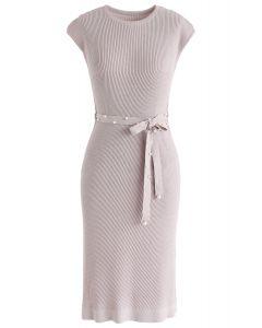 腰帶針織連衣裙--淡紫色