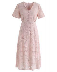 想想我粉紅色的全蕾絲中長連衣裙