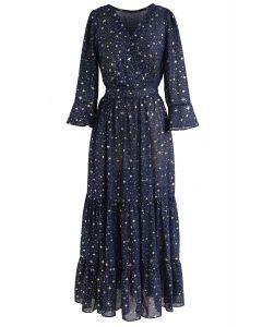 星星圖案長裙--海軍藍
