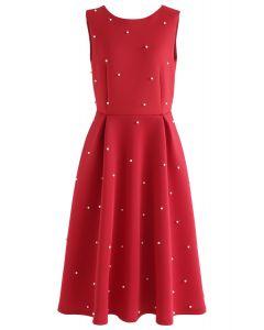 Pearls Bliss Airy Pleated Midi Dress