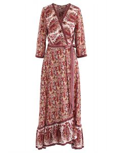 Paisley World Boho Wrap Maxi Dress in Red