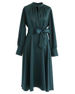 蝴蝶結繫帶緞面連衣裙--深綠色