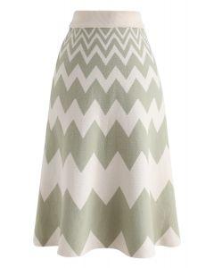 綠色之字形針織A字型Midi半身裙