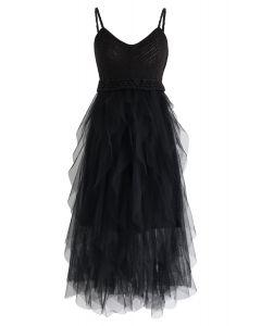 黑色針織荷葉邊網眼連衣裙