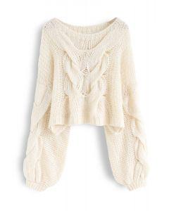 手工針織泡泡袖毛衣--米白色
