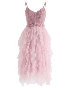 粉紅色針織荷葉邊網眼連衣裙