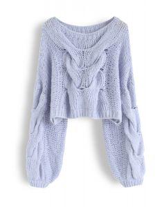 手工編織泡泡袖毛衣--藍色