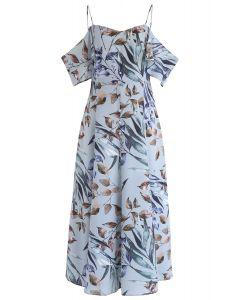 葉子印花冷肩長連衣裙