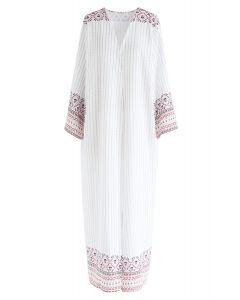 波西米亞風格條紋印花和服