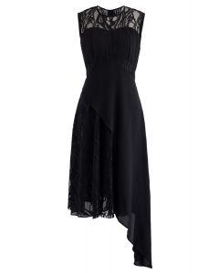 蕾絲雪紡不對稱無袖連衣裙黑色