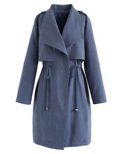 藍色抽繩腰線長款風衣