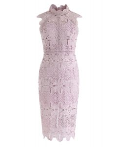 花卉鉤針編織緊身中長連衣裙--粉紅色