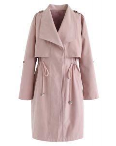 粉紅色抽繩腰長款風衣