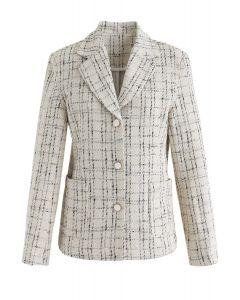格紋圖案粗花呢鈕扣西裝外套
