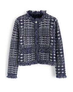海軍藍千鳥格圖案開襟羊毛衫