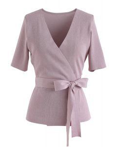 粉紅色自綁式蝴蝶結裹身針織上衣