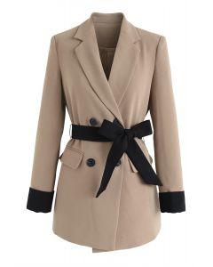 駝色自綁式蝴蝶結雙排扣西裝式外套