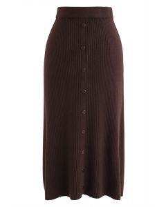 按鈕裝飾羅紋針織中長裙--焦糖色