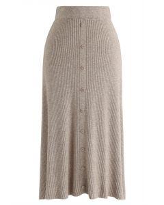 按鈕裝飾羅紋針織中長裙--淺褐色