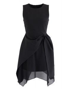 Asymmetric Hem Sleeveless Dress in Black
