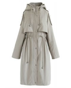 Drawstring Waist Hooded Trench Coat in Sand