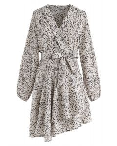 Leopard Dots Ruffle Wrap Dress in Ivory